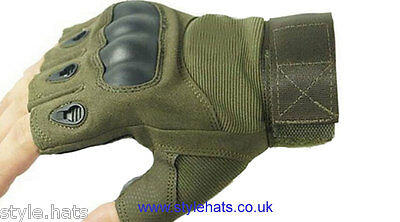 Fingerless Gloves Hunting Tactical Military Sniper Outdoor Sports Cycling Olive