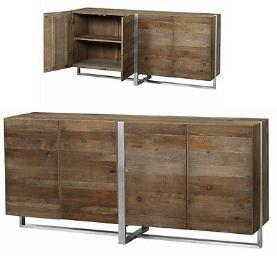 """72"""" Long Somerville Reclaimed Elm Wood Sideboard Stainless Steel Base And Fr 188"""
