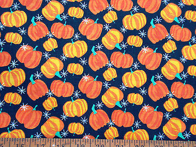 Vintage Cotton Quilt Fabric Thanksgiving Pumpkin Allover by HY