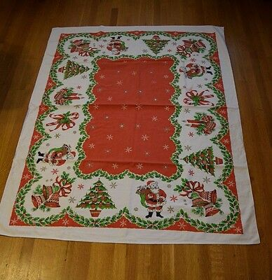 Vintage Mid Century Christmas Holiday Tablecloth 62 x 48 Santa Bells Candles