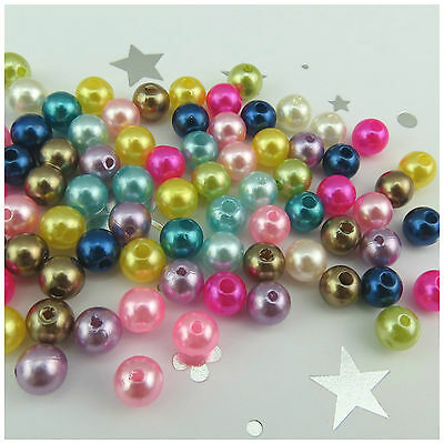 New Arrival 100Pcs 8Mm Round Acrylic Beads For Jewellery Making - 6 Colours