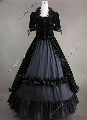 Victorian Gothic Black Velvet Dress Ball Gown Steampunk Theatre Clothing 061