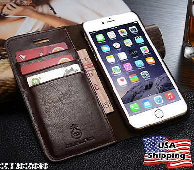 iPhone 7 Genuine Leather Wallet Card Holder Flip Stand Case Cover iPhone 6S Plus