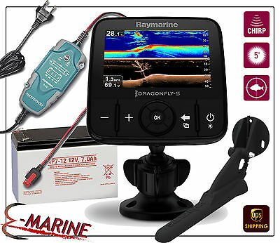 Raymarine dragonfly 5dvs downvision chirp sondeur + sonde cpt-dvs + Batterie