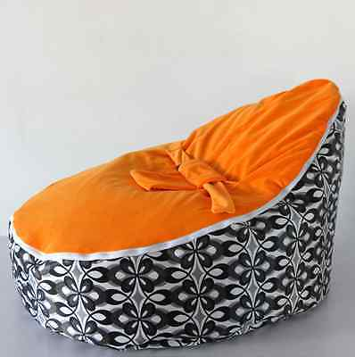 Baby Bean Bag Infant Beanbag Cover No Stuffed with Zipper Orange Straps/ Fronter