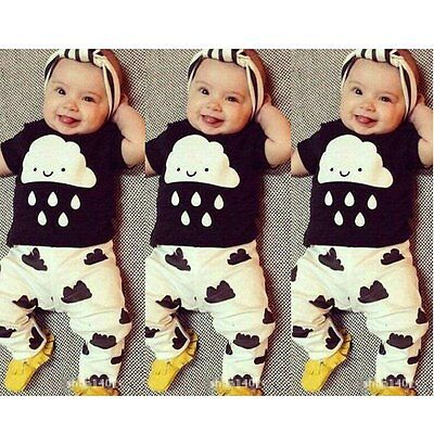 Newborn Baby Boys Girls Toddler Kids T-shirt Tops+Pants Outfit 2pcs Clothes Set