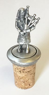 Scottish Bag Piper Hand Crafted Pewter Bottle Stopper Wine Saver