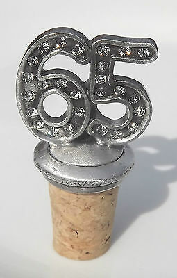 65 Birthday / Anniversary Hand Crafted Pewter Bottle Stopper Wine Saver