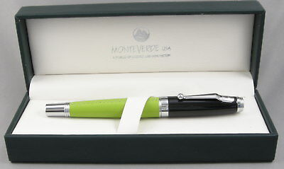 Monteverde Invincia Leather Collection Green & Chrome Rollerball Pen - New