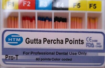 F1-F5 Gutta Percha Points HTM Box of 60 Dental Root Canal Compatible Protaper