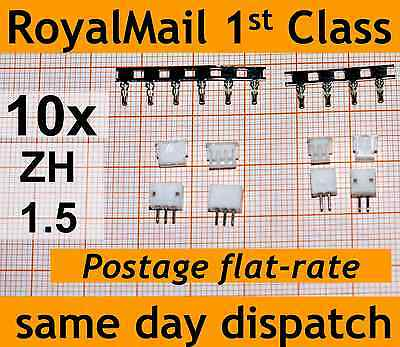 10x ZH 1.5mm connector plug PCB crimps male female lipo battery 2 3 4 Pin Header