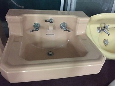Old Antique Vintage Faucet Peach Colored Wall Mount Sink 1932
