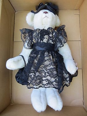 "Annette Funicello LARGE 22"" Ivory Teddy Bear Black Lace Victorian Mint"