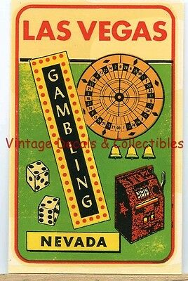 Vintage Luggage Travel Decal Las Vegas Nevada Gambling Casino Souvenir State Art