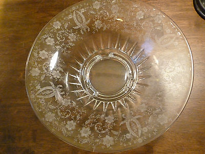 Vintage Viking Crystal Three Toed Footed Bowl - Etched Prelude - # 4901