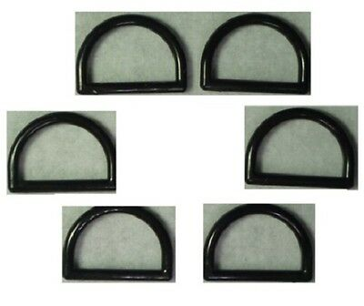 6 Half rings black 25 mm Interior measurement Plastic