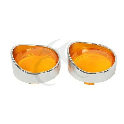 Motorcycle Orange Turn Signal Lens + Chrome Visor Ring For Harley Dyna Softail