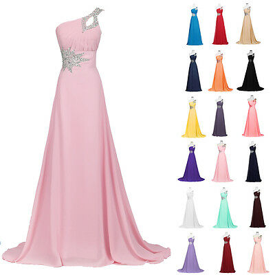 PLUS SIZE One Shoulder Bridesmaid Evening Ball Gown Party Formal Long Prom Dress