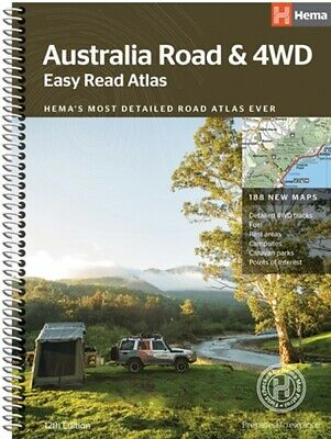 Hema Maps Australia Road & 4WD Easy Read Atlas 12th Ed