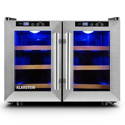 Klarstein Bar Saloon Beer & Wine Refrigerator 12 Bottles 40L Stainless Steel