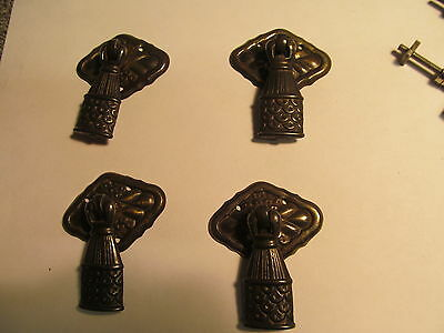 4  Early 1930's Metal Drawer Pulls    -V45-