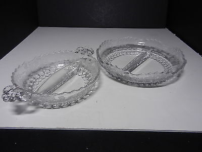 New Martinsville Meadow Wreath Radiance 2 pt Bowl & 2 pt Relish Clear ca 1926-44