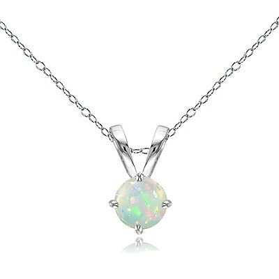 Sterling Silver 0.55ct Ethiopian Opal Round Solitaire Necklace, 6mm