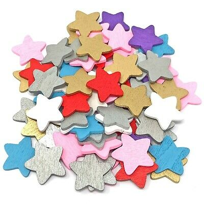 18mm Wooden Stars Shabby Chic Craft Scrapbook Vintage Coloured Wood Star
