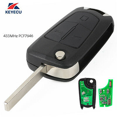 Flip Remote Key Fob 3 Button 433MHz PCF7946 for Vauxhall Opel Vectra C Signum