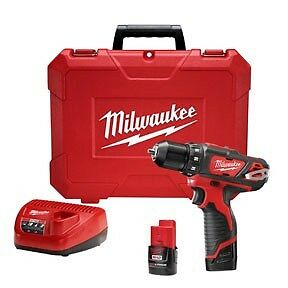 Milwaukee 2407-22  M12 12V Cordless Lithium-Ion 3/8 in. Drill/Driver Kit