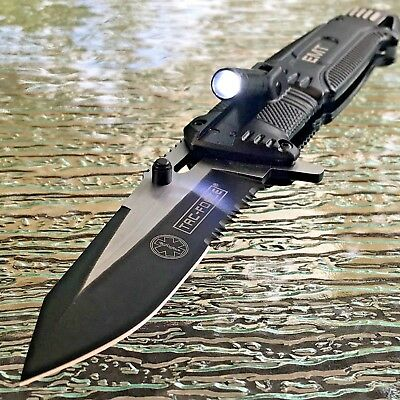 TAC-FORCE Speedster EMT EMS Folding Pocket Rescue Knife Serrated LED Light NEW!!