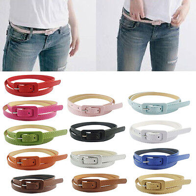 Women's Leather Belt Candy Colors Thin Belts Skinny Slender Waistband Waist Belt
