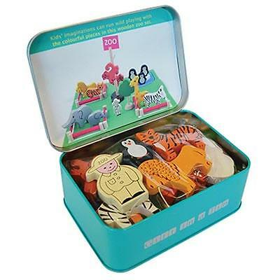 NEW Children's Apples to Pears Wooden Zoo Animals Play Set in TIN Case