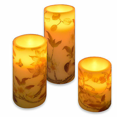 3 LED Church Candles Flickering Butterfly Butterflies Cream Electric Wax