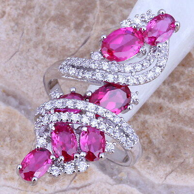 Incredible Red Ruby White Topaz 925 Sterling Silver Overlay Ring Women Size 6-12