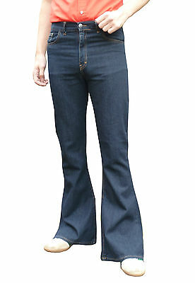 Mens Denim Bell Bottoms Flares Jeans High Rise vtg 60s 70s indie Mod Hippy Blue