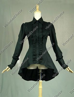 Victorian Gothic Women Black Cotton Blouse Shirt Top Theater Steampunk Punk B007