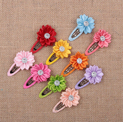 10pcs Girls Kids Baby Mini Hair Clips Flower Crystal Colorful hairpins New