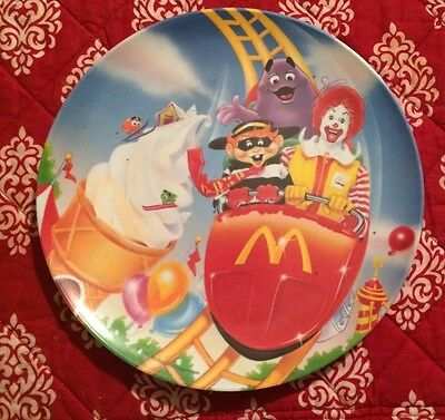 Vintage 1993 McDonald's Plate Ronald And Hamburglar Riding A Roller Coaster