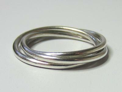 Vintage Sterling Silver Triple Rolling Bands Ring SZ 9