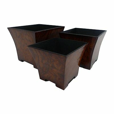 Cheung's FP-2627-3R Burl Print Small Square Tapered Planter Set of 3