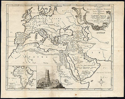 Antique Map-OLD WORLD-EUROPE-AFRICA-MEDITERRANEAN-TOWER OF BABEL-Bachiene-1764