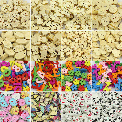 Lot Cute 50Pcs Wood Wooden Buttons Beads Scrapbook Craft Clothing Sewing Button