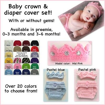 Crochet crown outfit, prince princess, preemie, 0-3 months, 3-6 months baby