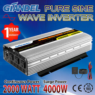 Pure Sine Wave Power Inverter 2000W (4000W Max)12V-240V With Remote Control