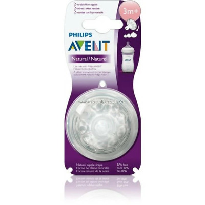 Avent - 2 x Natural Teats / Nipples - 3m+ Variable Flow - Brand New - Baby