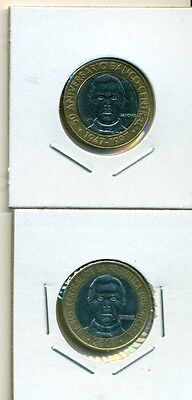 From Show Inv. - 2 BI-METAL 5 PESO COINS..the DOMINICAN REPUBLIC..1997 & 2008