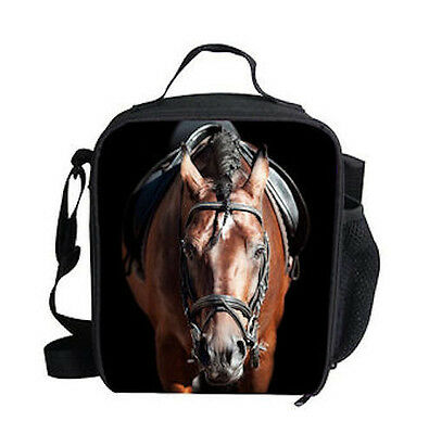 HORSE RIDING EQUESTRIAN WESTERN ACCESSORIES HORSE PRINT INSULATED LUNCH BAG l
