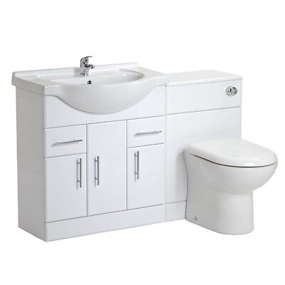 1350mm High Gloss White Bathroom Vanity Basin Furniture BTW Back to Wall Toilet