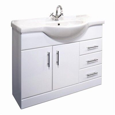 High Gloss White Bathroom Cloakroom 1050mm Vanity Cabinet Unit, Basin & Tap